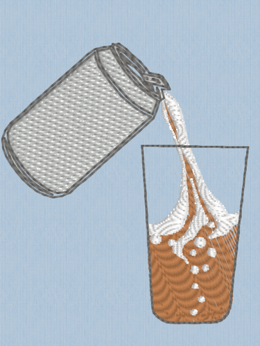 Can and Glass of Lager Beer Embroidery