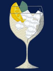 One Gin and Cocktail Glass Embroidery