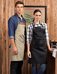 Faux leather trim apron