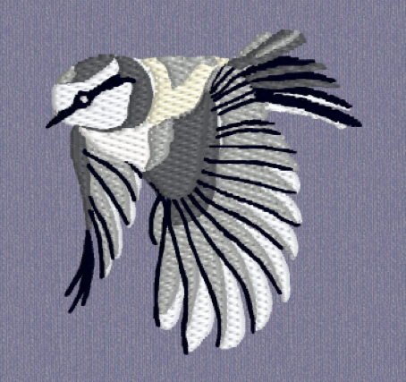 Blue Tit Embroidery in grey shades