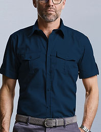 Short, roll up sleeve shirt