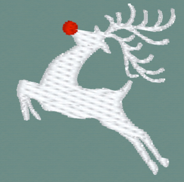 Leaping Deer with red nose Embroidery