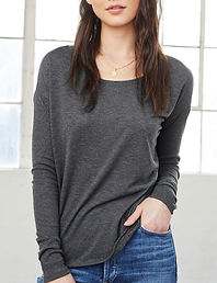 Flowy long, ribbed sleeve t-shirt