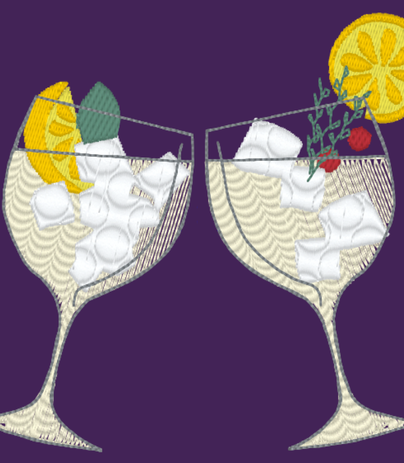 Two Gin Cocktail Glasses Embroidery