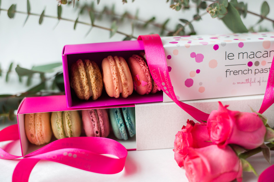 Boxes of macarons