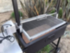 Heigh adjutable rotisserie. Perfect addition to any of our wood burning height adjustable Santa Mari BBQ Grills or Argenine Grills.