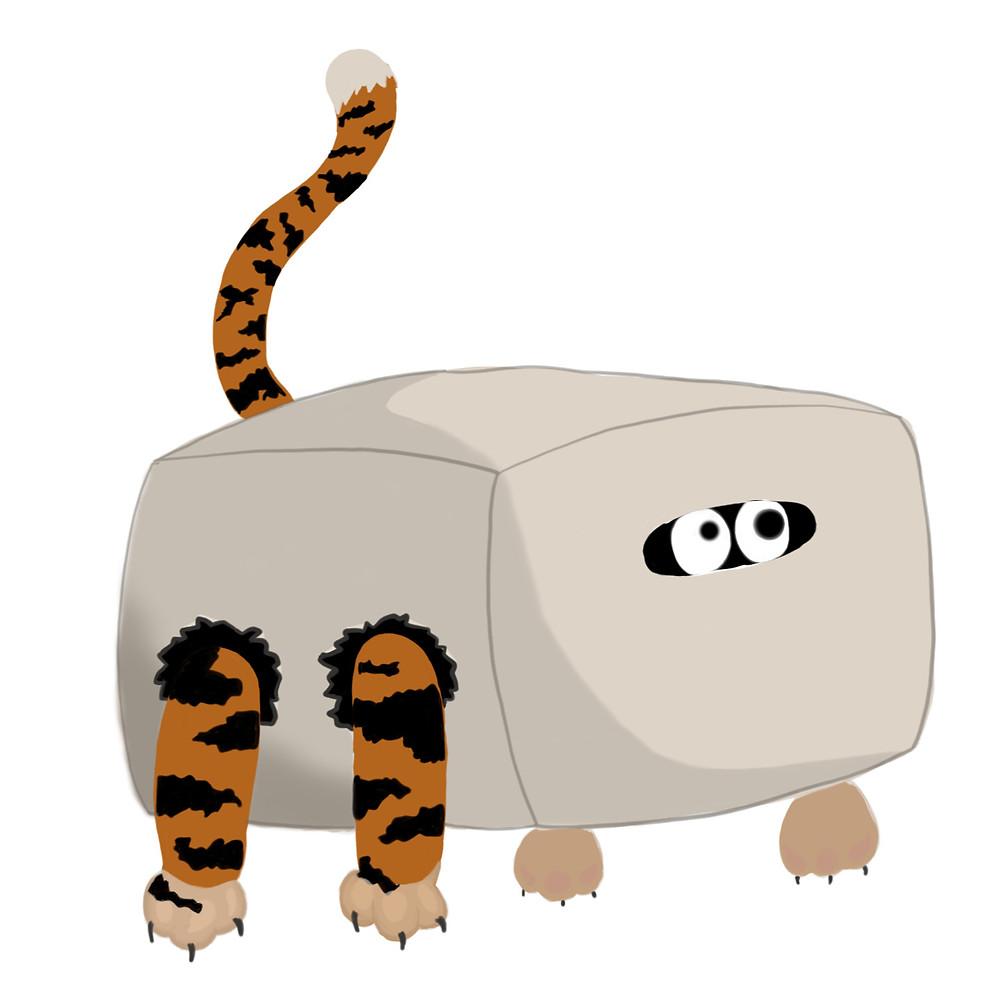 Tigerschwanz und beine gucken aus einem Karton hervor