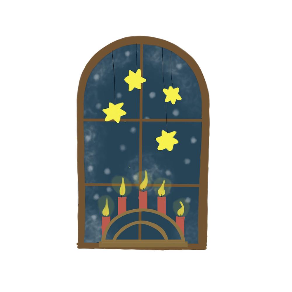 rundbogen fenster geschmückt mit Adventskranz und Sternen. Draußen Schneit es.