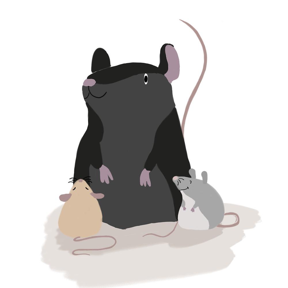 große Ratte wird von zwei kleinen Mäusen angeschaut