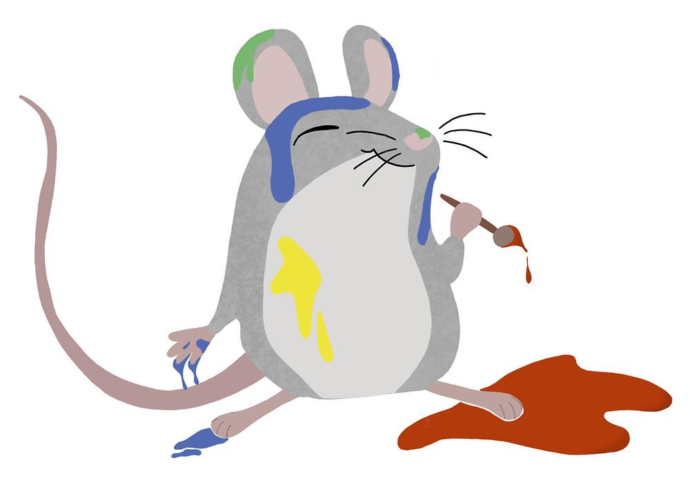 Maus mit Farbspritzern bedeckt