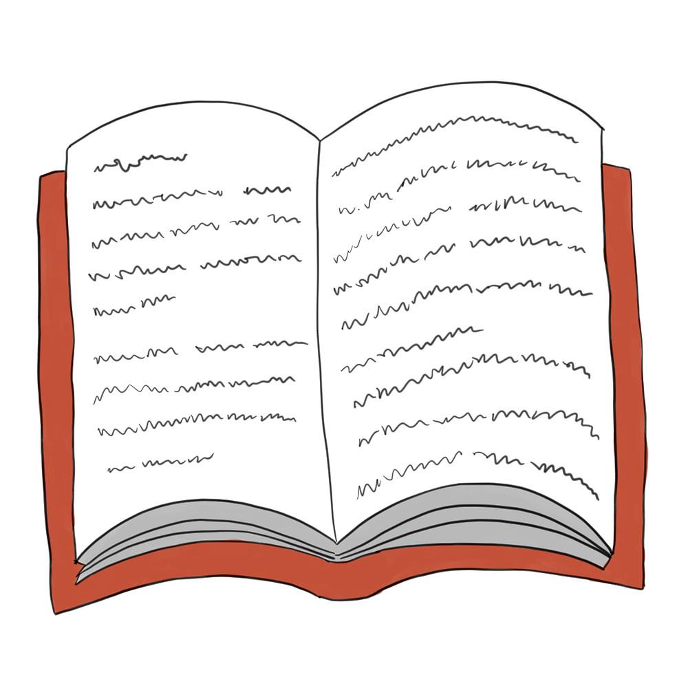 Weihnachtsbuch aufgeschlagen mit unlesbarem Text darin