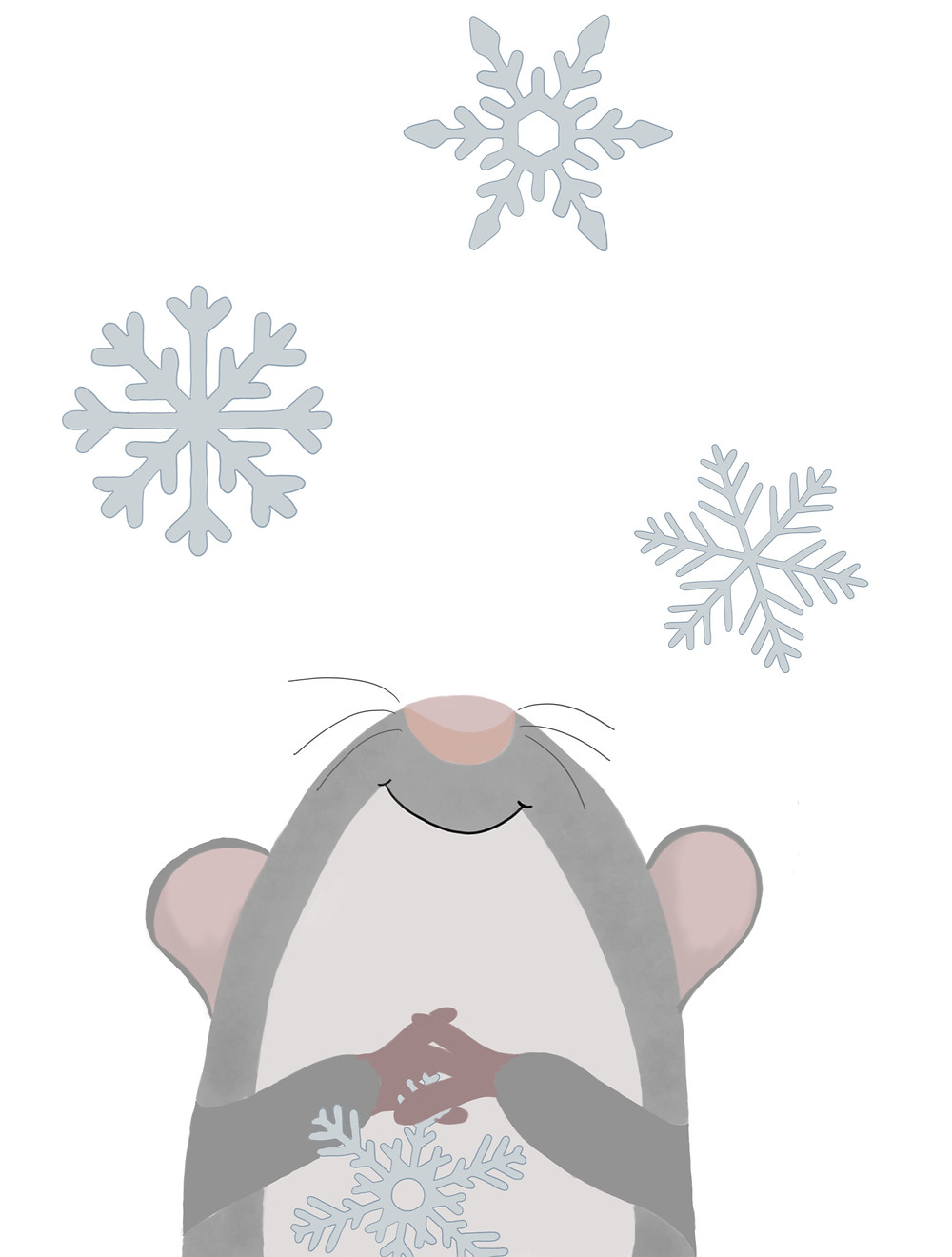 Fritzi guckt nach oben zu Schneeflocken dabei hält er eine in der Hand