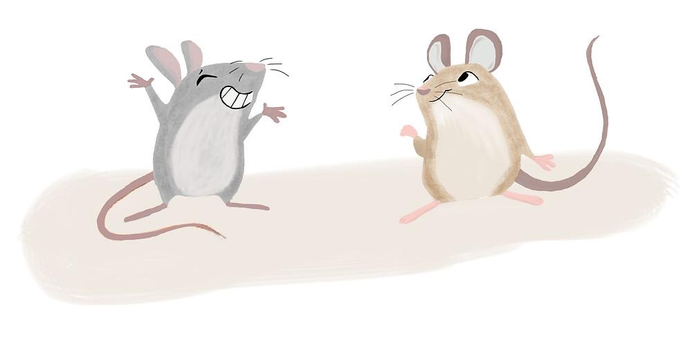 gezeichnete mäuse; graue maus neben brauner maus streckt arme in die lust