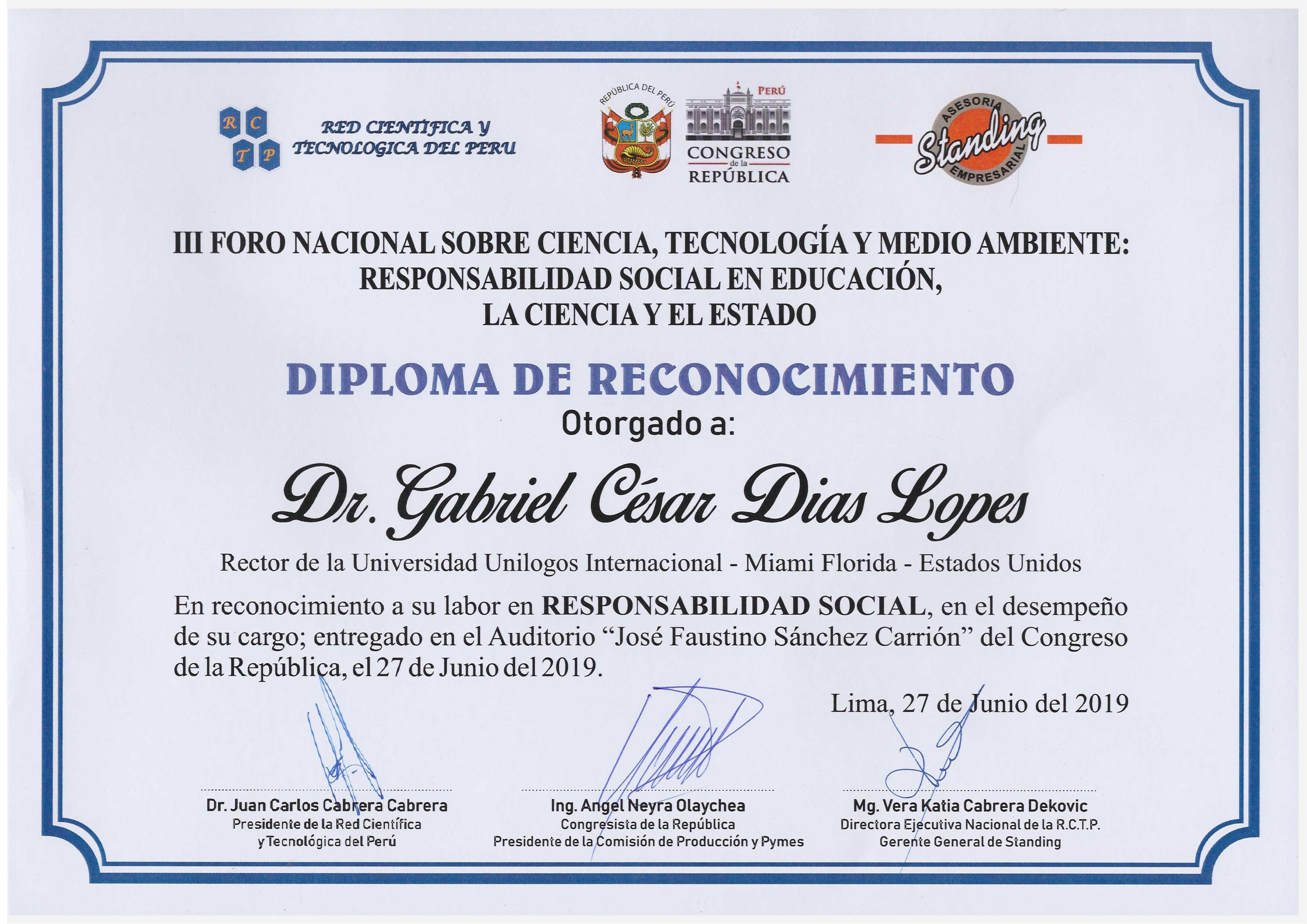 Diploma Congresso Peru_ Reconhecimento