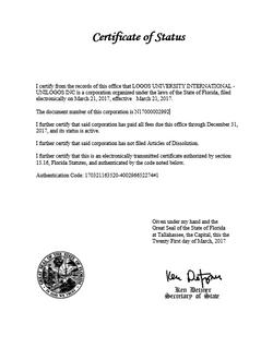 Certificado de Status unilogos