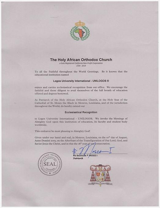 Reconhecimento Eclesiastico The Holy Afr
