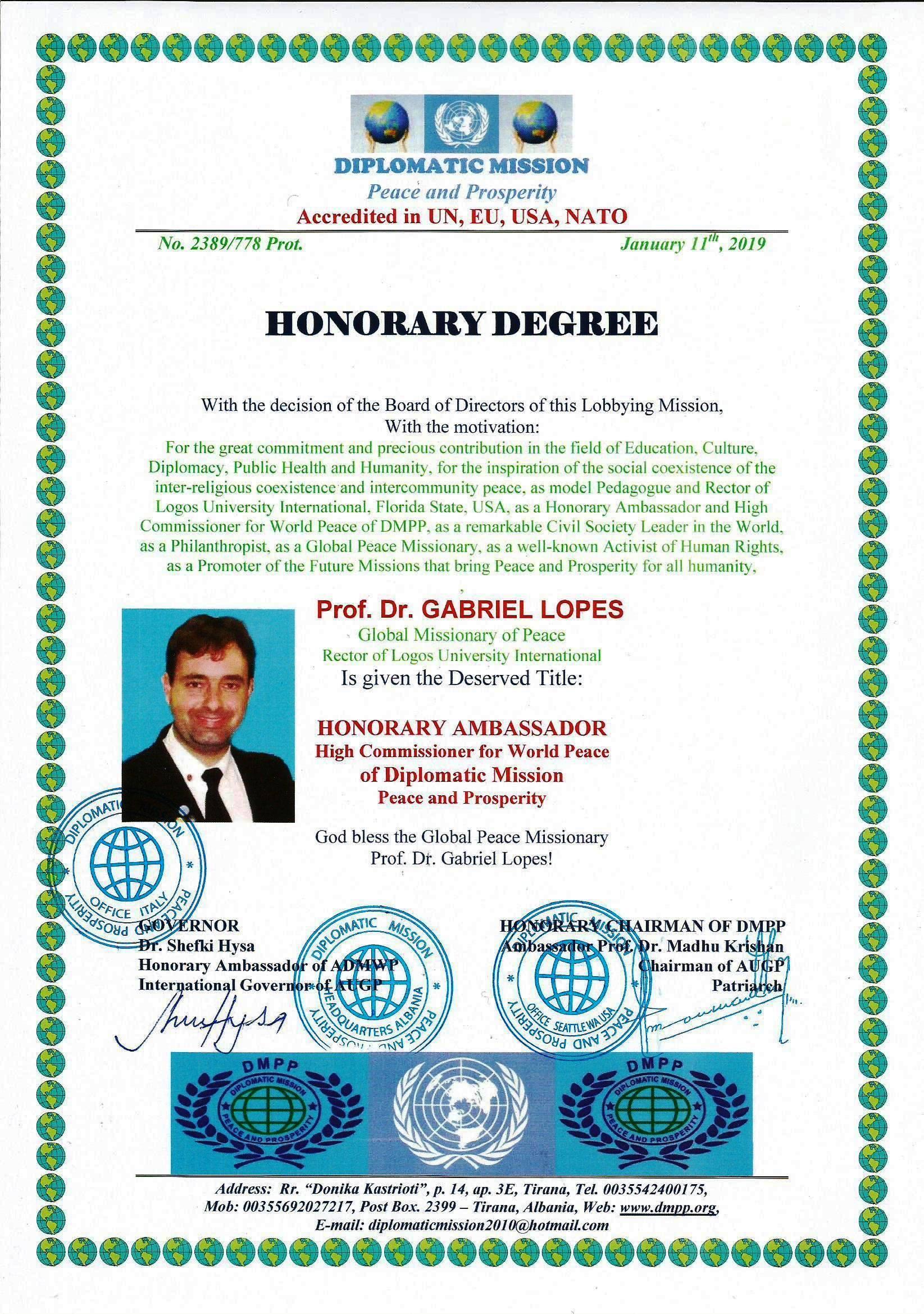 Diploma de Embaixador Honorario_ DMPP