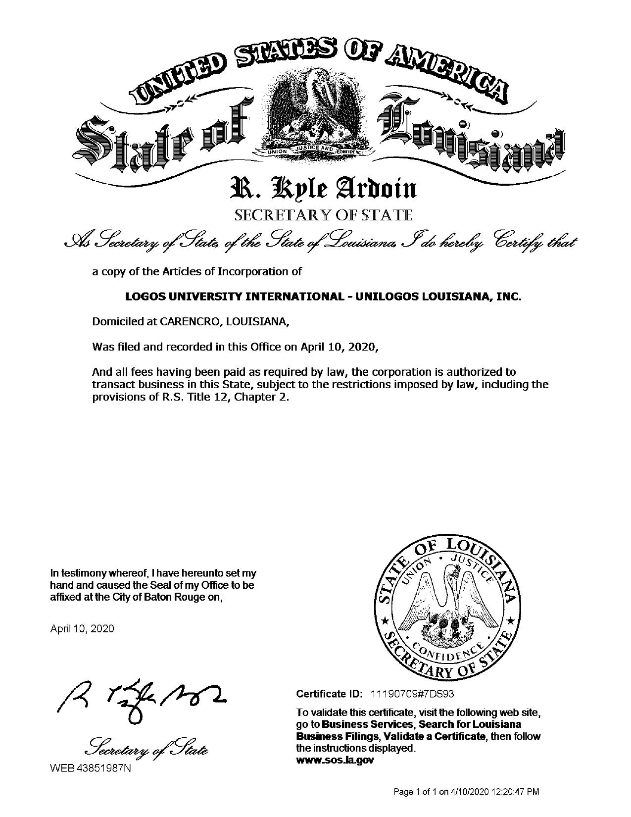 Certificado Unilogos Louisiana State