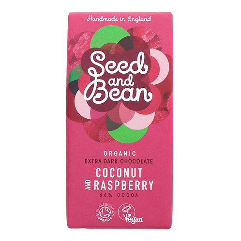 Seed & Bean Organic Coconut & Raspberry Dark Chocolate 85g