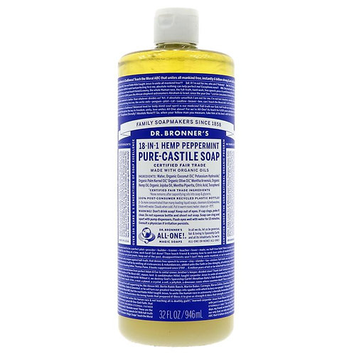 Dr Bronners 18 in 1 Peppermint Castile Soap 946ml