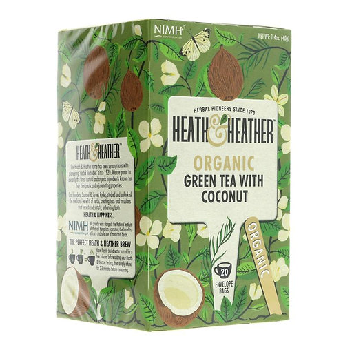 Heath & Heather Organic Green Tea & Coconut 20 Bags