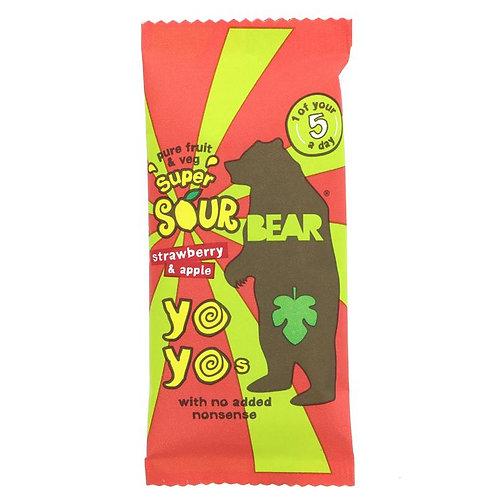 Super Sour Bear Yo Yo's Strawberry & Apple (1pck)