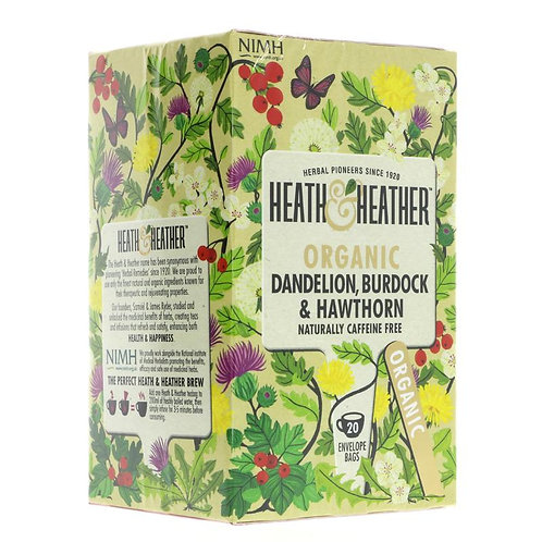 Heath & Heather Organic Dandelion, Burdock & Hawthorn Tea 20 Bags