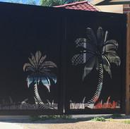 Pool compliant palm tree gates