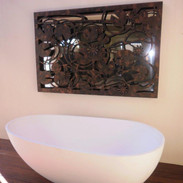 Coral Homes Lily pond wall art with mirr
