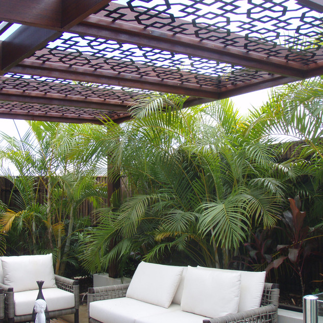 Pergola panels with timber frame