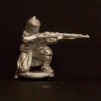 WWR 62   Infantryman kneeling firing rifle, wearing budenovka and greatcoat