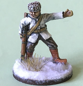 WWF 23 NCO with rifle, pointing, wearing snow jacket