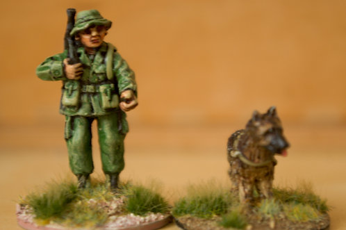 VAI 10 Dog handler, advancing,  wearing bush hat, with M16 and dog