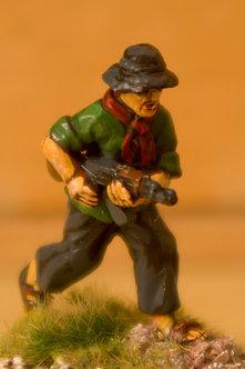 VVC 107 Infantryman, running, wearing jungle hat, holding AK 47