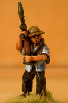 VVC 111 Infantryman, advancing, wearing jungle hat, holding RPG