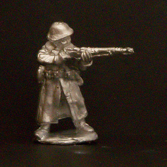 WWR 61   Infantryman standing firing rifle, wearing helmet and greatcoat