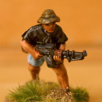 VVC 106 Infantryman, advancing, wearing jungle hat, holding RPD machine Gun