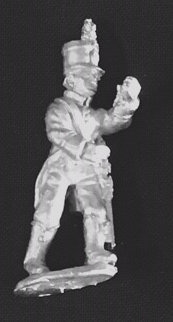 SAI 2 Infantry ensign marching, wearing tail coat and shako