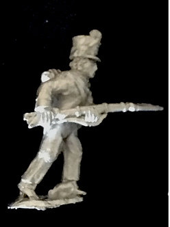 SRI 106 Infantryman advancing, musket level, wearing short jacket covered shako