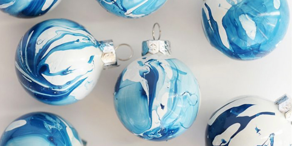 Marbled Christmas Ornaments