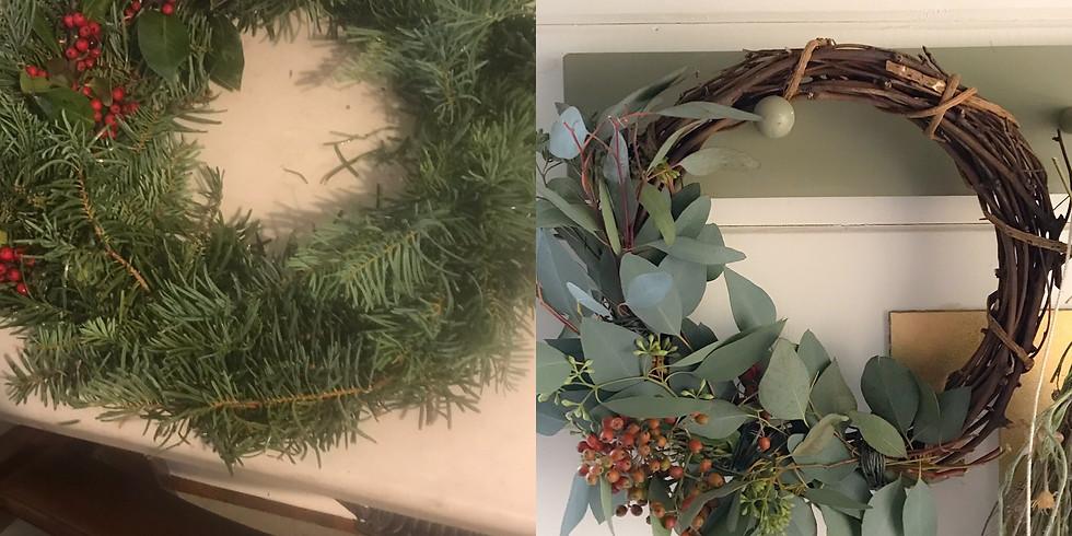 Grapevine or Evergreen Wreath