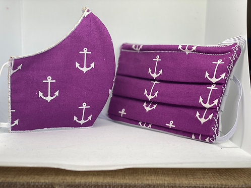 Purple Anchor Face Mask