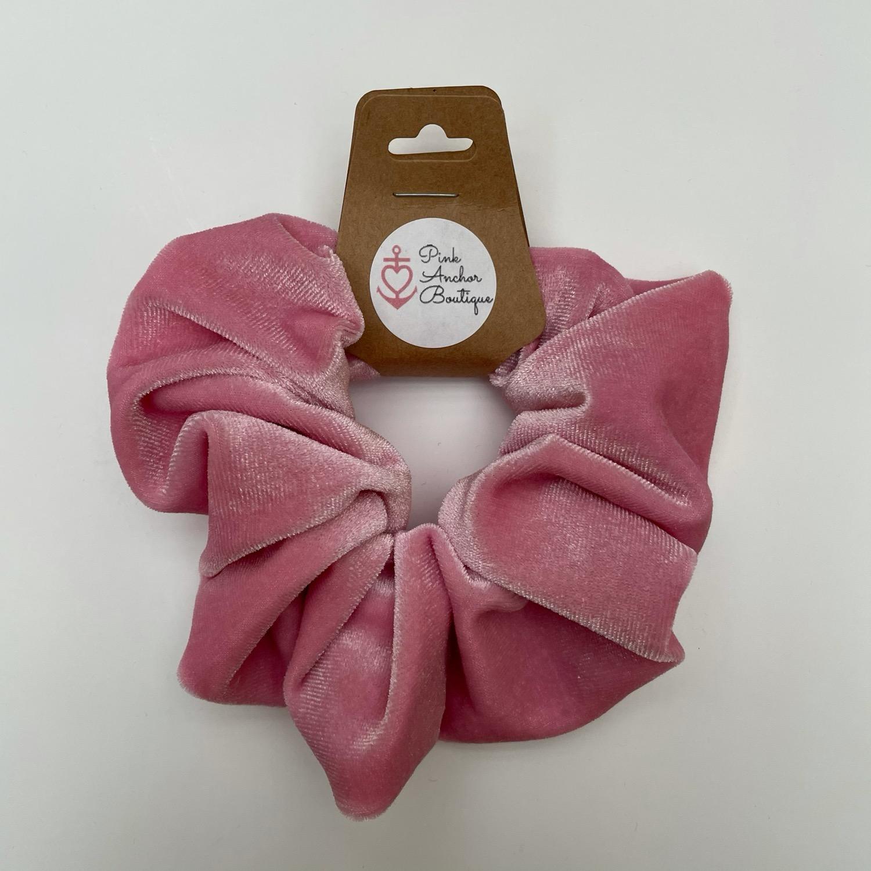 Pink Velvet Scrunchie