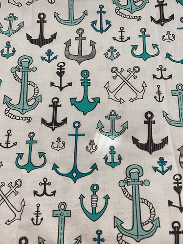 Teal Anchors Face Mask