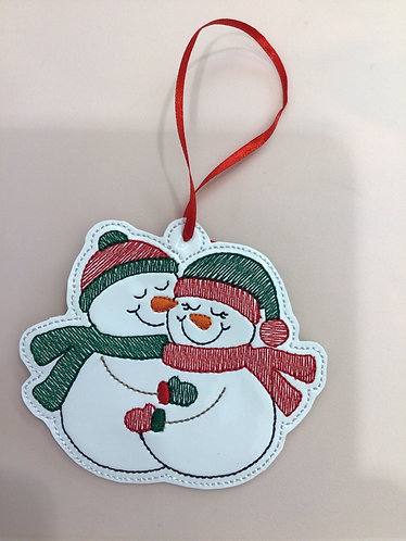 Hugging Snowmen Ornament