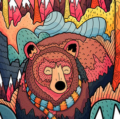 Winter forest bear