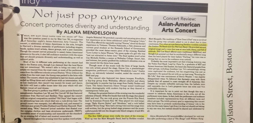 """Harvard Independent"" Positively Reviewed  Justine Ok's  Asian-American Arts Concert Performance"