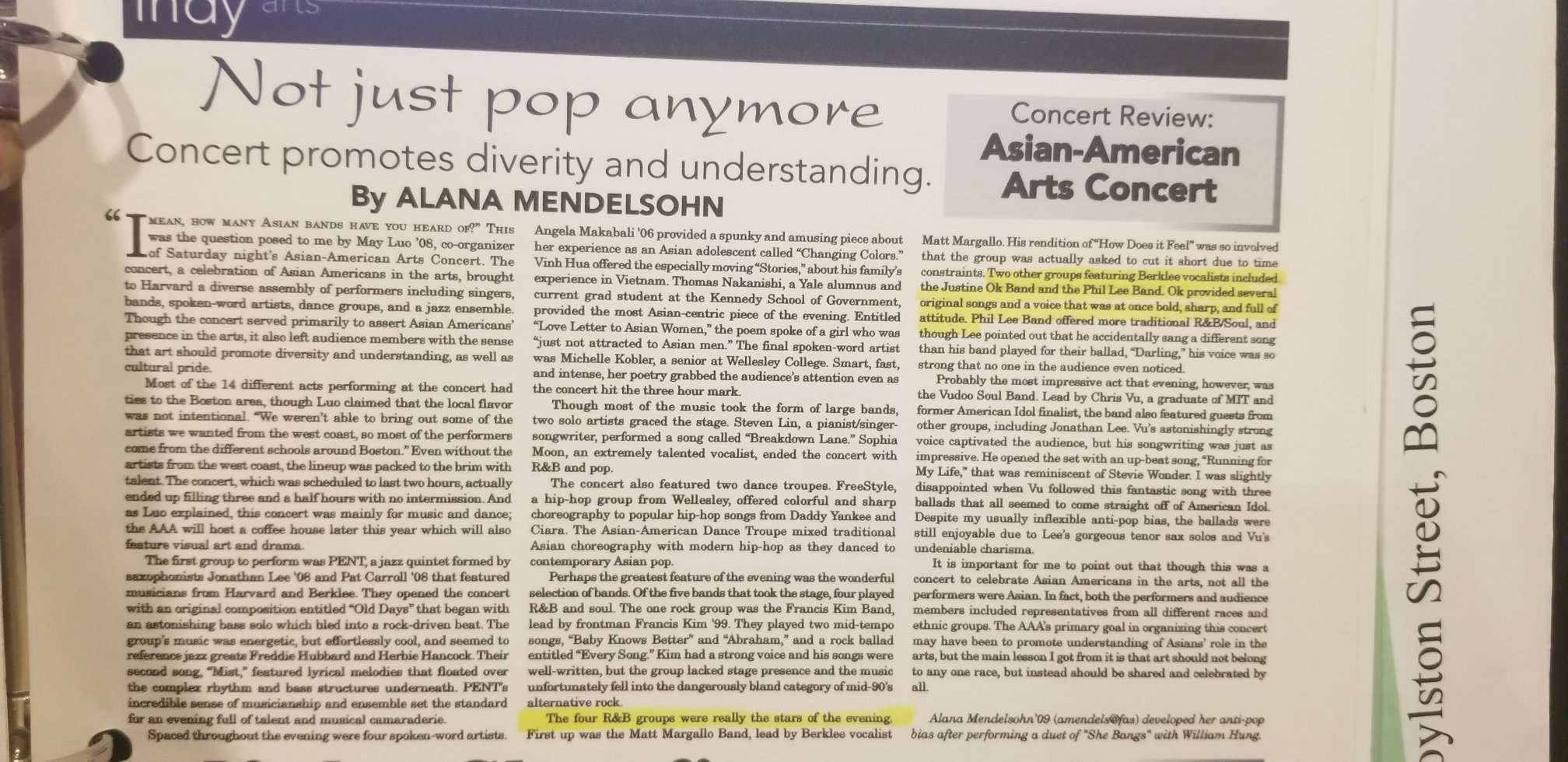 """""""Harvard Independent"""" Positively Reviewed  Justine Ok's  Asian-American Arts Concert Performance"""