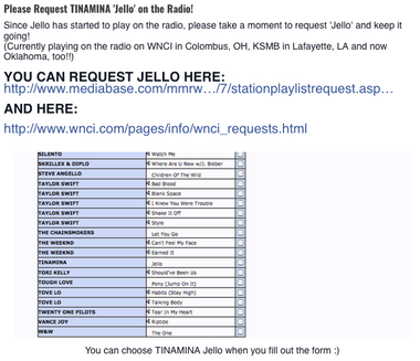 """Jello"" was spinning on rotation for the following U.S. Radio Stations"