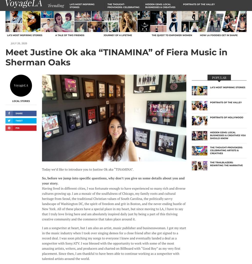 Justine Ok featured in VoyageLA - LA's Most Inspiring Stories